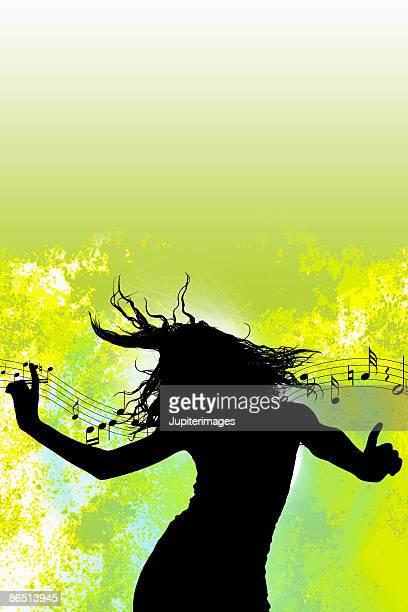 Silhouette of dancing woman