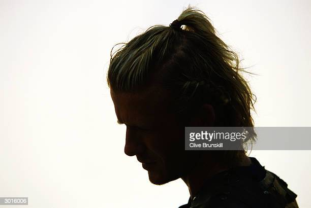 Silhouette of David Beckham taken on set during the making of the Pepsi football commercial 'Pepsi Foot Battle' held on July 4, 2003 in Madrid, Spain.
