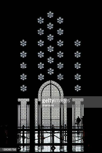 Silhouette of doors and man - King Hassan Mosque, Casablanca