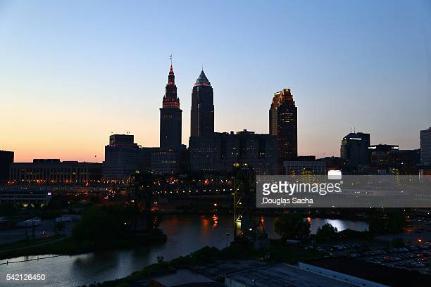 Silhouette of downtown Skyline, Cleveland, Ohio, USA