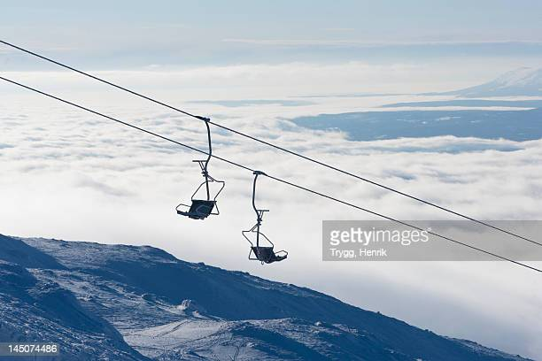 Silhouette of empty ski lift