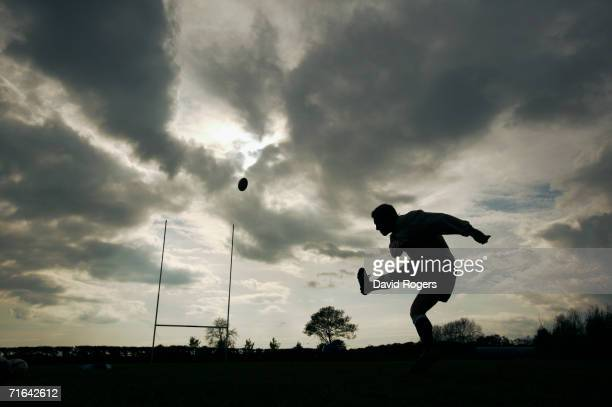 Silhouette of England and Newcastle Falcons Fly Half Jonny Wilkinson as he practises his kicking at Kingston Park during a feature on May 13, 2004 in...