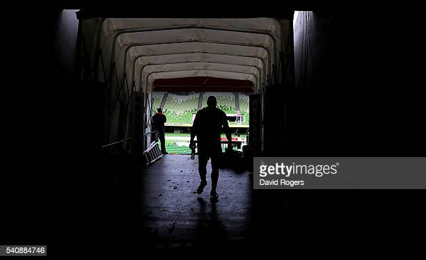 A silhouette of England flank forward James Haskell as he walks down the tunnel during the England Captain's Run at AAMI Park on June 17 2016 in...
