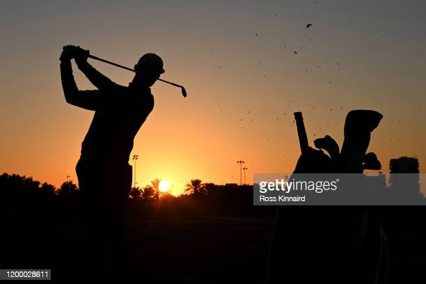 Silhouette of Erik van Rooyen of South Africa as he warms up on the range ahead of his Round Two match during Day Two of the Abu Dhabi HSBC...