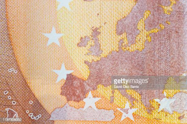 silhouette of europe on a fifty euro bill - euro stock-fotos und bilder