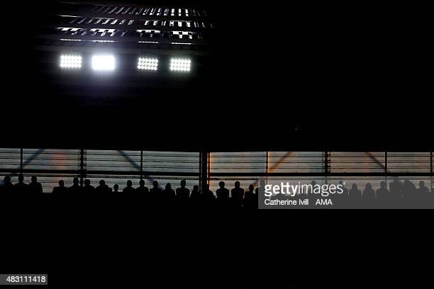 Silhouette of fans standing underneath the LED floodlights during the UEFA Europa League Qualifier between Southampton and Vitesse at St Mary's...