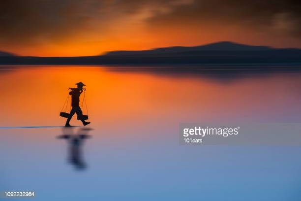silhouette of farmer walking and carrying salt and backing to home at nightfall. travel landscapes and destinations - vietnam imagens e fotografias de stock