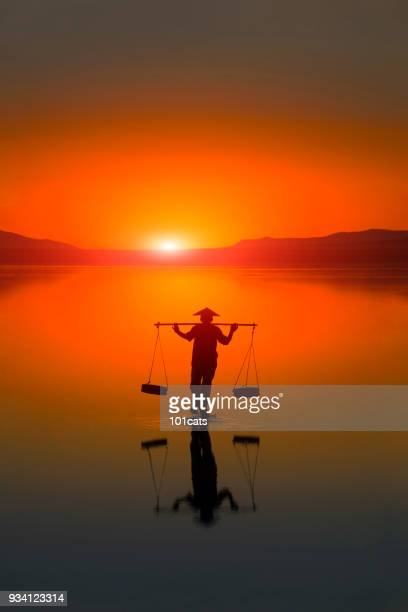 silhouette of farmer walking and carrying salt and backing to home at nightfall. travel landscapes and destinations. - cambodia stock pictures, royalty-free photos & images