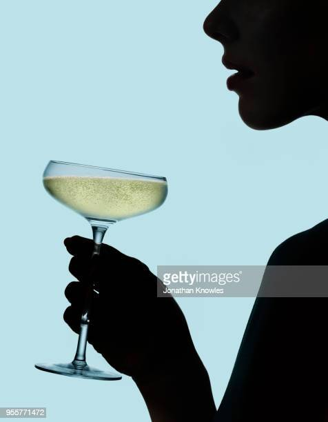 silhouette of female holding champagne - campania stock pictures, royalty-free photos & images