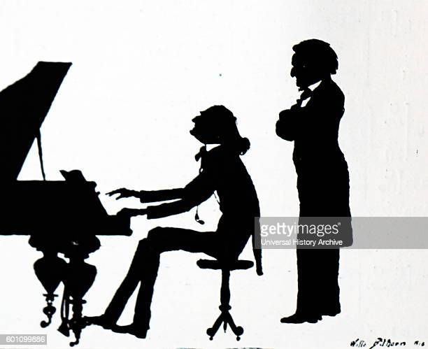 Silhouette of Franz Liszt Hungarian composer virtuoso pianist conductor music teacher arranger philanthropist author nationalist and a Franciscan...