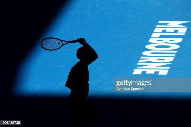 A silhouette of Gael Monfils of France during his second round match against Novak Djokovic of Serbia on day four of the 2018 Australian Open at...