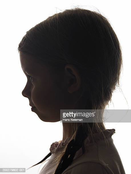 Silhouette of girl (4-6), side view, close-up