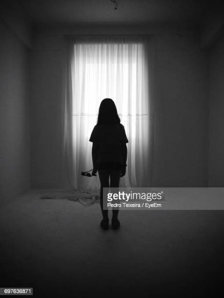 Silhouette Of Girl Standing Indoors