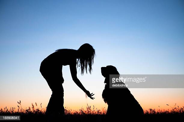 girl 訓練犬 - 動物調教師 ストックフォトと画像