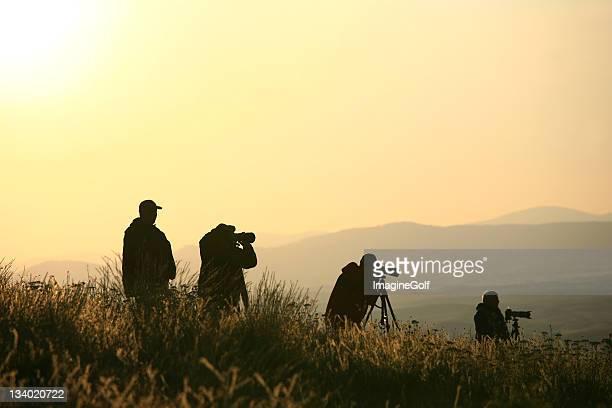 Silhouette de paysage de photographes