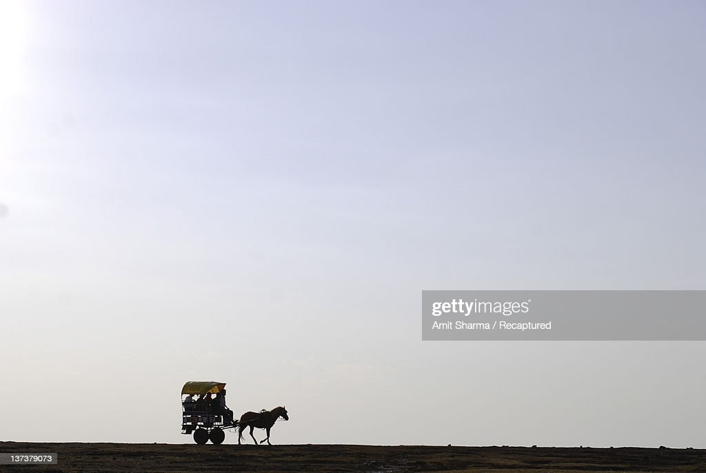 Silhouette of horse-drawn carriage on plateau : Stock Photo