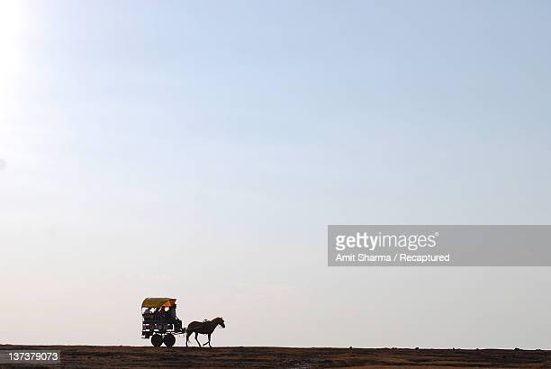 Silhouette of horse-drawn carriage on plateau