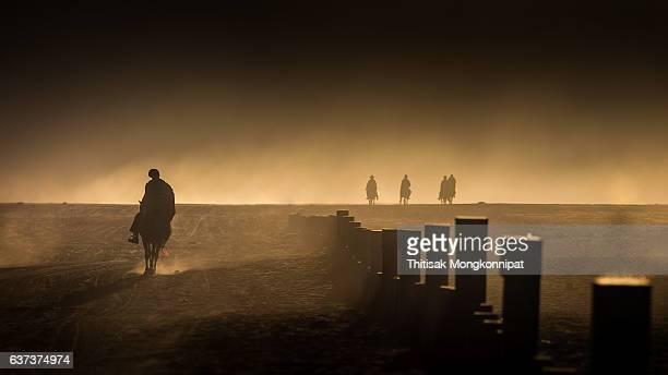 Silhouette of Horsemen during Sunrise