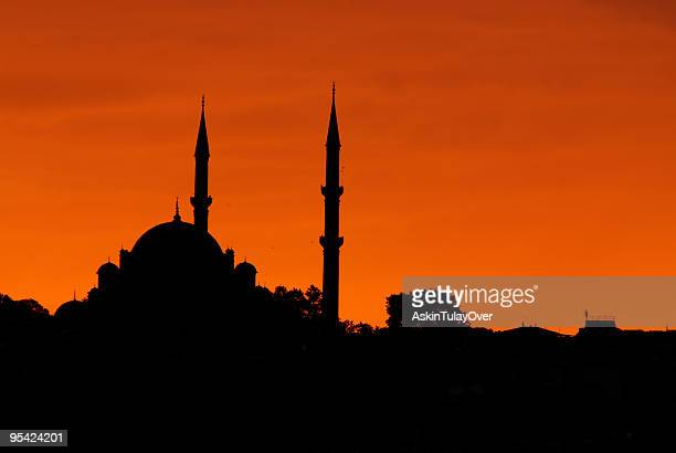 Silhouette of Istanbul's skyline at the dusk