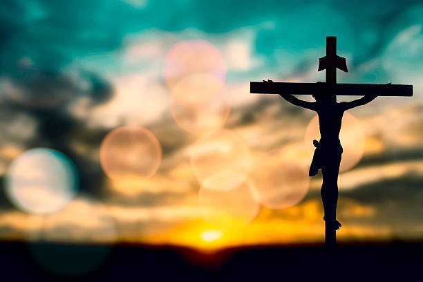 Free church religion images pictures and royalty free stock silhouette of jesus with cross over sunset concept for religion voltagebd Image collections