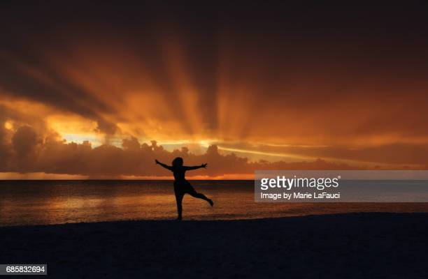 silhouette of joyful woman running on the beach at sunset - marie lafauci stock pictures, royalty-free photos & images