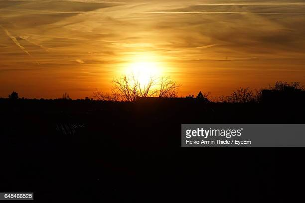 silhouette of landscape at sunset - köpenick stock pictures, royalty-free photos & images