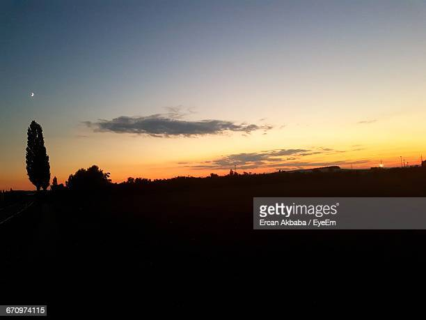 Silhouette Of Landscape At Sunset