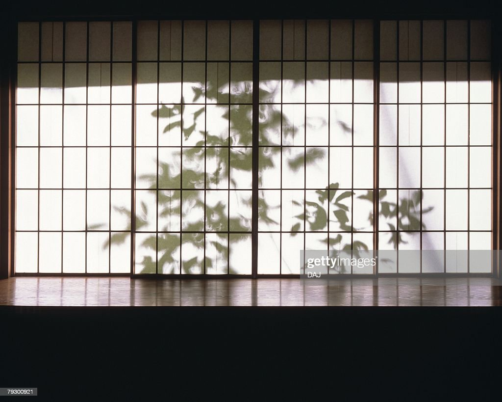 Silhouette Of Leaves Behind Japanese Sliding Door Front View Japan Stock Photo | Getty Images & Silhouette Of Leaves Behind Japanese Sliding Door Front View Japan ... pezcame.com