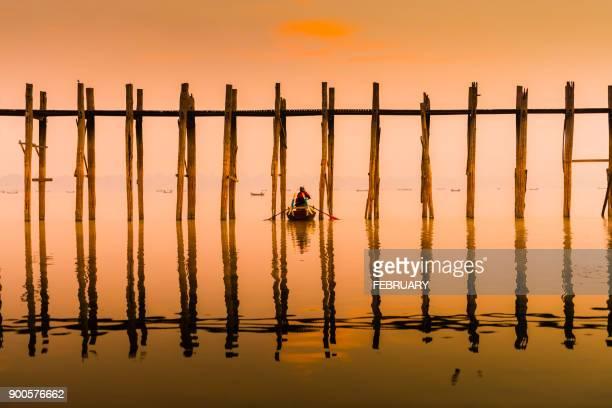 Silhouette of life at U-Ben Bridge, Mandalay, Myanmar