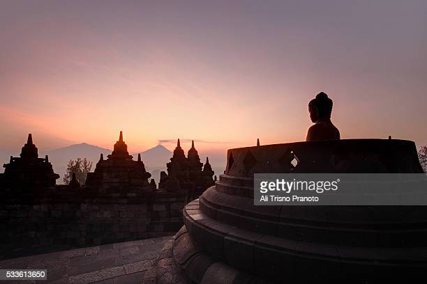 Silhouette of Magnificent Borobudur temple in sunrise moment