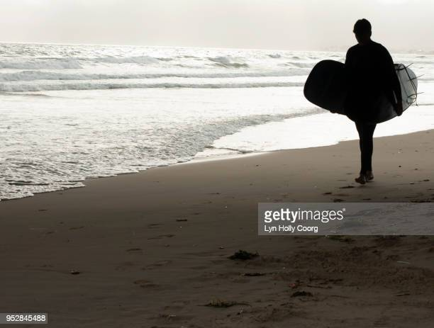 silhouette of male surfer with two surfboards walking under boardwalk on waters edge - lyn holly coorg stock pictures, royalty-free photos & images