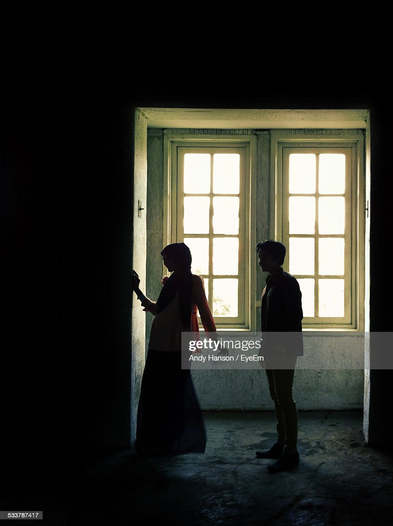 Silhouette Of Man And Woman : Foto stock