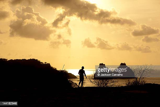 Silhouette of man at seaside