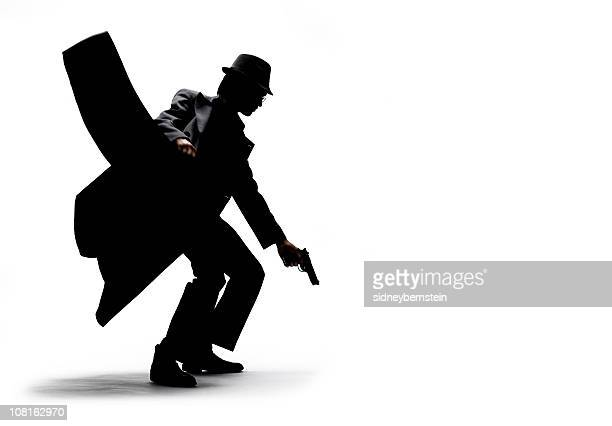 Silhouette of Man Holding Jacket and Gun on White Background