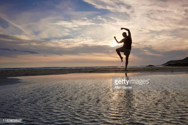 silhouette of man practising kung fu moves on beach - 少林寺 ストックフォトと画像