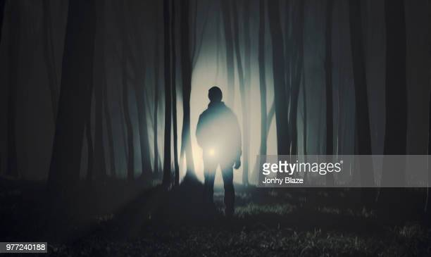 silhouette of man standing in dark forest - images stock pictures, royalty-free photos & images