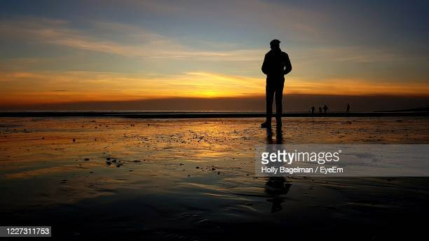 silhouette of man standing on beach looking into sunset - horizon stock pictures, royalty-free photos & images