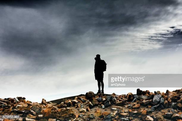 Silhouette Of Man Standing On Pirineos