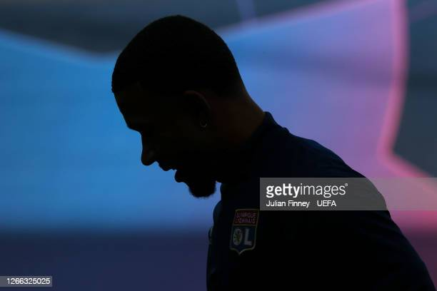 Silhouette of Memphis Depay of Olympique Lyon is seen prior to the Olympique Lyonnais Training Session ahead of the UEFA Champions League match...