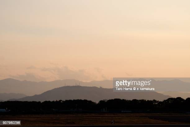 Silhouette of Mount Bizan in Tokushima city in Tokushima prefecture in Japan in the sunset