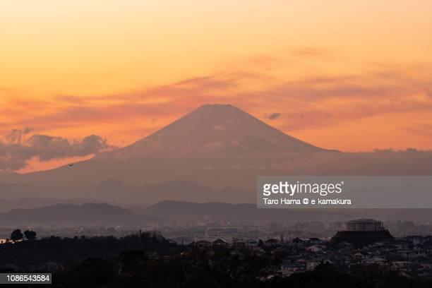 Silhouette of Mt. Fuji and Fujisawa, Chigasaki and Fujisawa cities in Kanagawa prefecture in Japan in the sunset