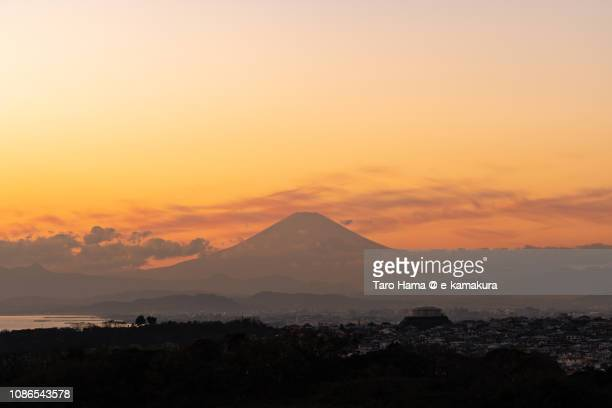 Silhouette of Mt. Fuji and Sagami Bay, Northern Pacific Ocean in Japan in the sunset