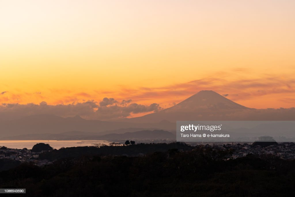 Silhouette of Mt. Fuji and Sagami Bay, Pacific Ocean in Japan in the sunset : Stock Photo