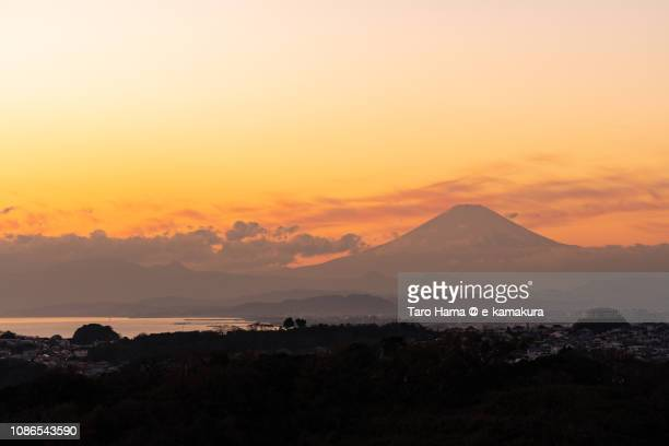 Silhouette of Mt. Fuji and Sagami Bay, Pacific Ocean in Japan in the sunset