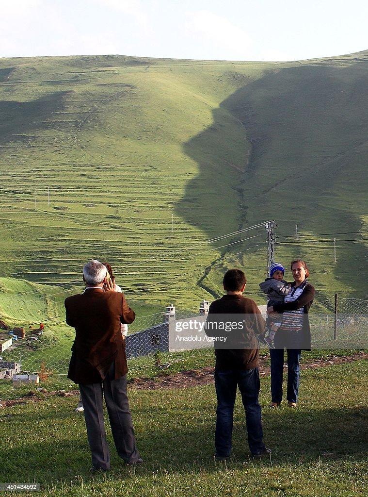 Silhouette of Ataturk on mountain foot : News Photo