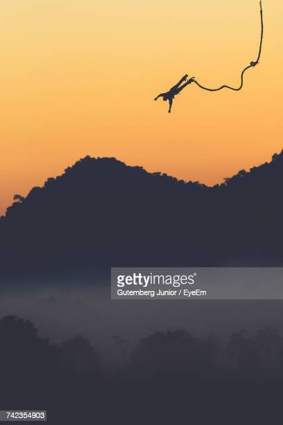 Silhouette Of One Person Bungee Jumping