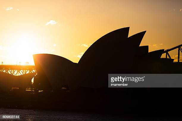 Silhouette of Opera House at sunset in Sydney, copy space