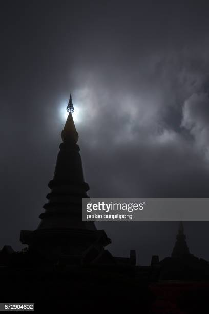 Silhouette of pagoda in Doi Inthanon