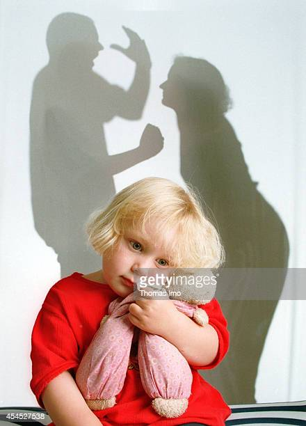 Silhouette of parents arguing in front of their daughter on August 24 in Bonn Germany Children suffer when their parents fight