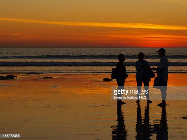 Silhouette of people at sunset on Cable beach
